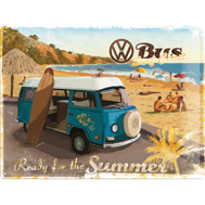 Stor VOLKSWAGEN SURFBUSS Ready for the summer METALLSKYLT 29x39,5cm splitbuss typ 2 (högtakare campingbuss) VW