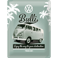 Stor VOLKSWAGEN Enjoy the way to your destination METALLSKYLT 29x39,5cm Buss typ 2