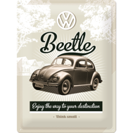 Stor VOLKSWAGEN Enjoy the way to your destination METALLSKYLT 29x39,5cm Bubbla typ 1