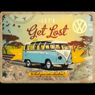 Stor VOLKSWAGEN Lets get lost METALLSKYLT 29x39,5cm splitbuss typ 2