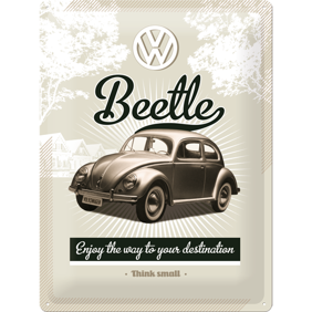 Stor VOLKSWAGEN Enjoy the way to your destination METALLSKYLT 29x39,5cm Bubbla typ 1 -