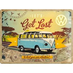 Stor VOLKSWAGEN Lets get lost METALLSKYLT 29x39,5cm splitbuss typ 2 -