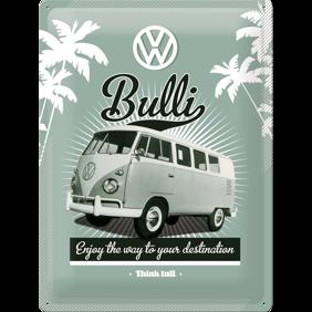 Stor VOLKSWAGEN Enjoy the way to your destination METALLSKYLT 29x39,5cm Buss typ 2 -