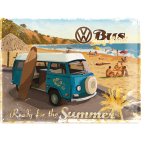 Stor VOLKSWAGEN SURFBUSS Ready for the summer METALLSKYLT 29x39,5cm splitbuss typ 2 (högtakare campingbuss) VW -