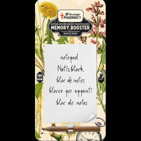 MEMORY BOOSTER the nostalgic pharmacy METALL memo BLOCK 10x20cm Trädgård örter -