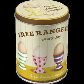 FREE RANGE EGGS EVERY DAY - for a delicious breakfast HÖNS/ANKA/FÅGEL ÄGG BURK 1liter - 2st burkar