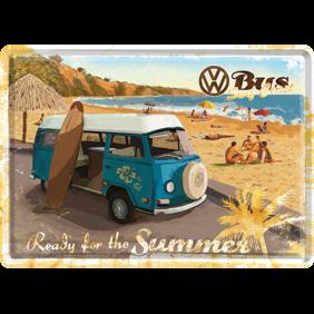 VW BUSS Ready for the summer METALLSKYLT/VYKORT 10x14,5cm Folkabuss surf typ 2  - Buss