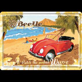 VW Folkvagn röd cab METALLSKYLT/VYKORT 10x14,5cm Bubbla surf typ 1 - Bubbla