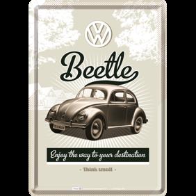 VW Folkvagn Enjoy your way to your destination METALLSKYLT/VYKORT 10x14,5cm Bubbla typ 1 - Bubbla