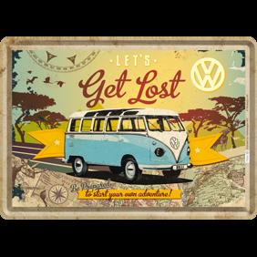 VW LETS Get Lost Be Prepared to start your own adventure! METALLSKYLT/VYKORT 10x14,5cm Buss typ 2 - Buss