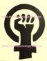 KVINNOKAMP - MÄRKE (FEMINIST) DEKAL svart 3 storlekar - 1st XL ca 10,5x7,7cm kvinnokampmärke