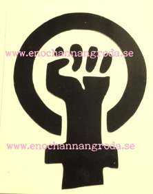 KVINNOKAMP - MÄRKE (FEMINIST) DEKAL svart 3 storlekar - 2st S ca 3x2,2cm kvinnokampmärke