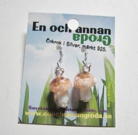 Prickig Ljusrosa SVAMP (glas) ÖRHÄNGEN Örkrok i SiLVER -
