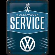 VW SERVICE - METALLSKYLT 20x15cm  Bubbla/Folkvagn/Buss typ 1 typ 2