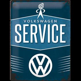 Stor VOLKSWAGEN SERVICE - METALLSKYLT 29x39,5cm Bubbla typ 1 typ 2 Golf Buss VW -