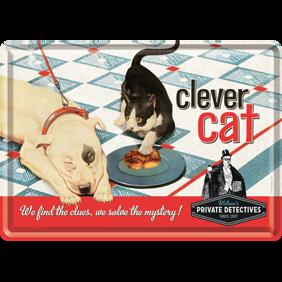 clever cat Watson´s private detectives METALLSKYLT/VYKORT 10x14,5cm  Hund Katt -