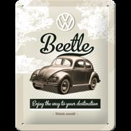 VW Beetle - METALLSKYLT 20x15cm  Bubbla/Folkvagn/typ 1
