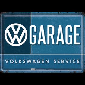 VW VW GARAGE VOLKSWAGEN SERVICE METALLSKYLT/VYKORT 10x14,5cm - GARAGE