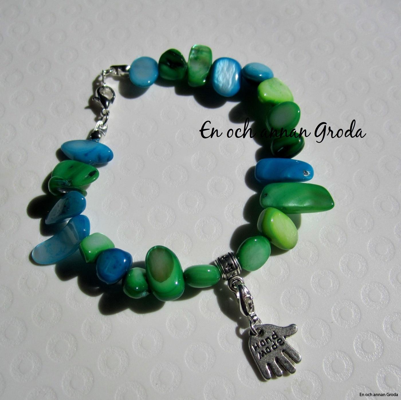 pärlem armb grön blått