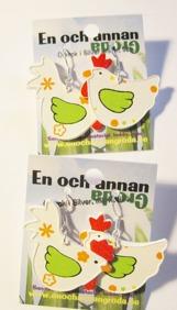 1par HÖNS ÖRHÄNGEN örkrok i silver Fågel/Höna/Tupp (trä) -