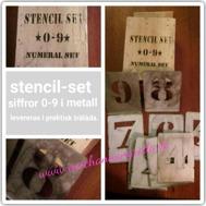 Stencil-set i metall, siffror 0-9 kommer i praktisk träask