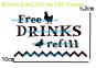 VATTENKOPP / NIPPEL och tillbehör tank/vinkelfäste till höns, kalkon, ankor, vaktel. DEKALER - 1st DEKAL Mindre Free DRINKS refill (höns & anka)