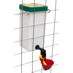 VATTENKOPP / NIPPEL och tillbehör tank/vinkelfäste till höns, kalkon, ankor, vaktel. DEKALER - nr 1b. 1 liters tank med röd kopp