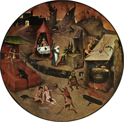 "Detail from ""The Seven Seadly Sins and the Four Last Things"" by Hieronymus Bosch, depicting the specific eternal punishments that will be unleashed on the sinners - unless they repent. On the right side, a greedy man is being boiled in liquid gold."