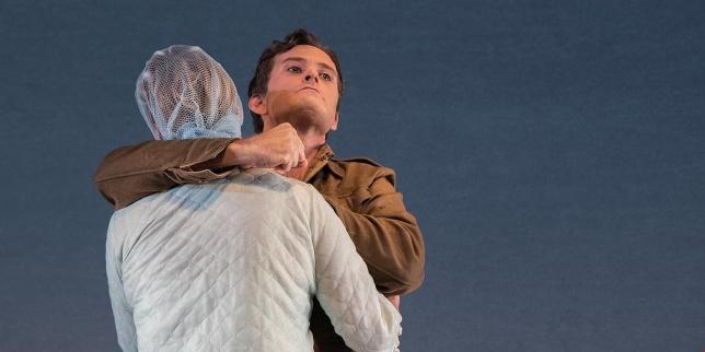 Zucco (Jon Nilsson) strangles his mother (Anna Norrby)