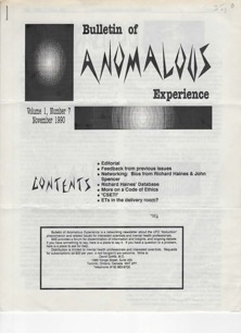 Bulletin of Anomalous Experience (1990-1994) - Vol 1 n 7 - Nov 1990