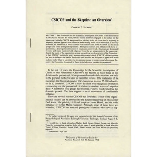 Hansen, George P: CSICOP and the Skeptics: An overview. [Reprint from the Journal of the American Society for Psychical Research, vol. 86, January 1992].