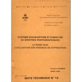 GEPAN: No-00018:Note technique no.18. Systeme d'acquisition et d'analyse de spectres photographiques