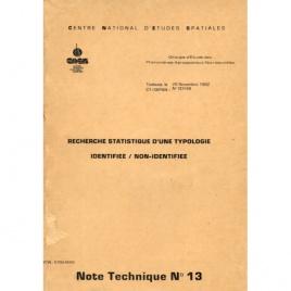 GEPAN: No-00148: Note technique no.13. Recherche statistique d'une typologie identifiée/non-identifiée. (Philippe Besse)