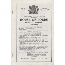 House of Lords. Official report. Parliamentary debates. Vol. 397 no. 23, Thursday 18th January 1979