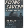 Allingham, Cedric: Flying saucer from Mars - Good with dustjacket. Dark blue linen cloth. Ex-owners name.