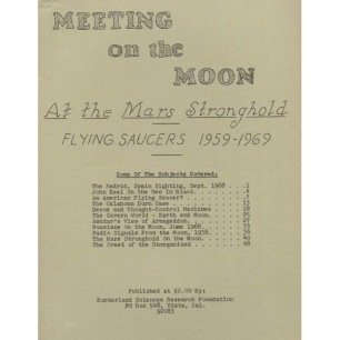 Crabb, Riley H.: Meeting on the Moon. At the Mars stronghold, flying saucers 1959-1969. - 1st ed, Very good