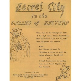 Illion, Theodore: Secret city in the valley of mystery.