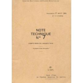 Gepan: Note Technique No 7. Compte Rendu de L'enquete 79/05