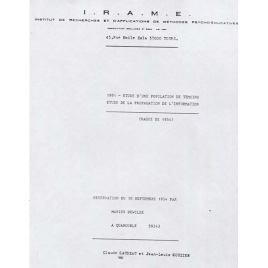 Gaudeau, Claude & Gouzien, Jean- Louis : 1981 - Etude  D'une populaton de Temoins etude de la propagation de L'information (Vague de 1954). Observation du 10 septembre 1954 par Marius Dewilde