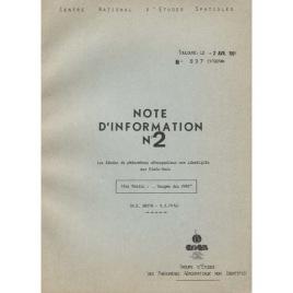 GEPAN: No-097: Note D'information no. 2. Les études de phénomenes aerospatiaux non identifiés aux Estats-Unis.