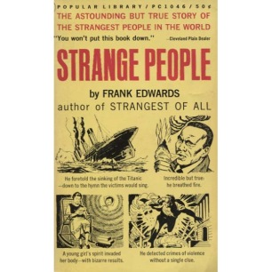 Edwards, Frank: Strange people (Pb) - Very good, ex-owner name on sticker and some notes inside book