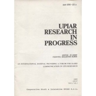 UPIAR Research in Progress. Vol. I, n. 1