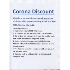 *Corona sale*- 33 % discount on all magazines, March-April 2020