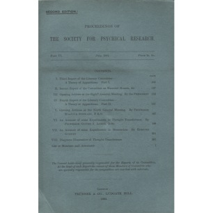 Proceedings of the Society for Psychical Research (1884-1892) - Part VI (6), July 1884
