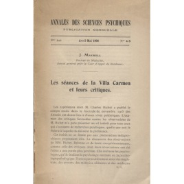 Maxwell, J.: Annales des sciences psychiques Avril-Mai 1906