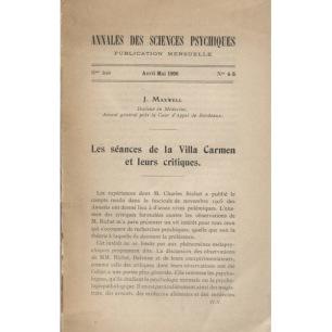 Maxwell, J.: Annales des sciences psychiques Avril-Mai 1906