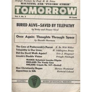 Tomorrow, Spring 1957 (Quarterly Review of Psychical Research)
