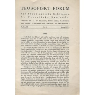 Teosofiskt Forum (1930-1935) - 1934 vol 3 no 1
