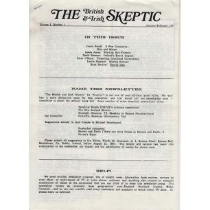 British & Irish Skeptic, The (1987-1990) - Vol 1 n 1 - Jan/Febr 1987