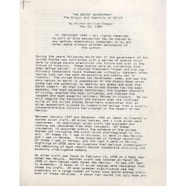 Cooper, Milton William: The Secret Government. The origin, identity and purpose of MJ-12